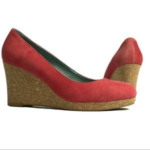 Boden Red Suede and Cork Wedge Heels